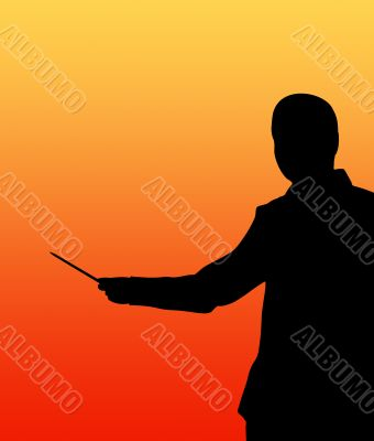 Businessman with pointer