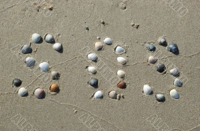 SOS signal on the sand made from shells