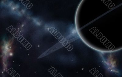 Digital created starfield with cosmic Nebula and planet with rin