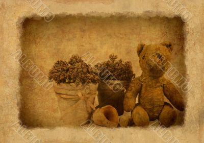 Grunge background with retro toy bear