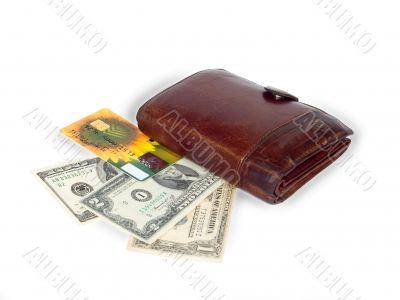 credit card,dollars and wallet