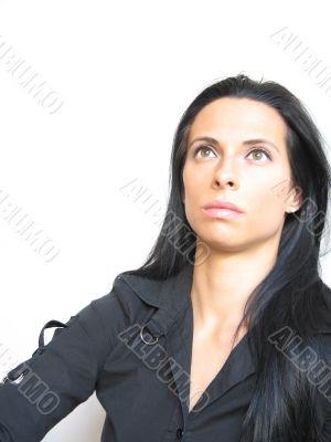 pretty dark hair pensive woman