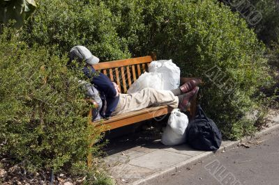 Destitute on a Park Bench