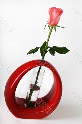 Pink rose in a red vase