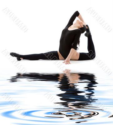 fitness instructor in black leotard