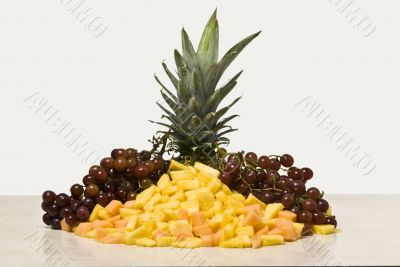 Diced Pinepapple and Canteloupe with Grapes