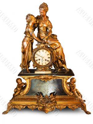 Antique clock with figurines