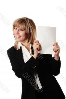 standing woman holding brochure
