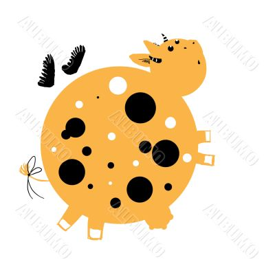 Flying orange cow with dots