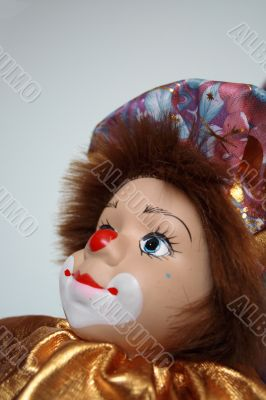 Toy clown on a white background