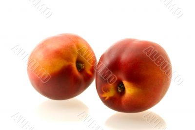 two ripe fresh nectarines