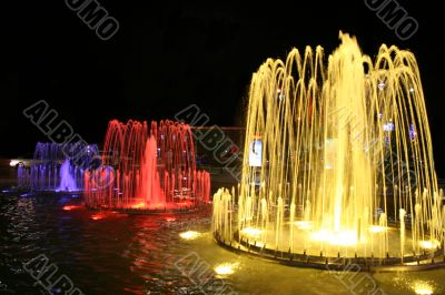 Fountain at night in the city