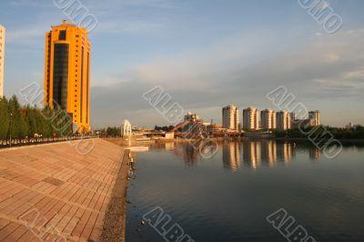 Beautiful sunrise in Astana city