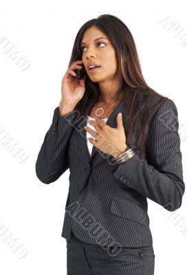 Beautiful businesswoman talking on cellphone