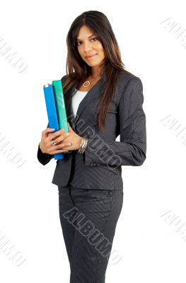 Beautiful brunette businesswoman holding files