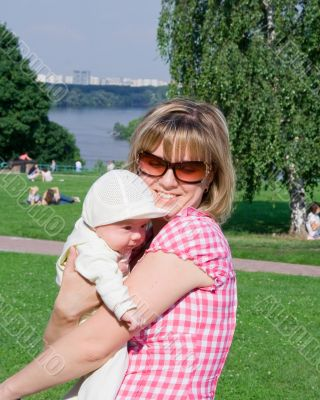 Happy mom with child