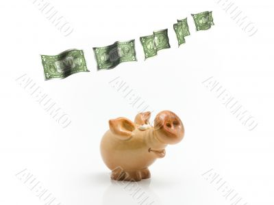 Clay piggy with flying dollars