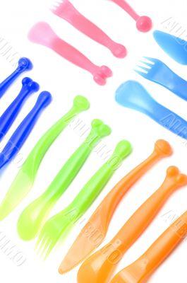 Plastic utensil close up