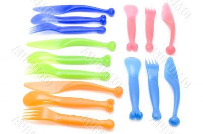 Plastic utensil on white