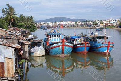 Boats and sea shore