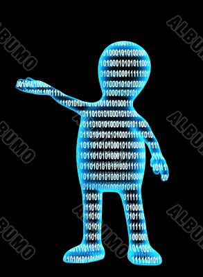 Internet concept - person from a binary code