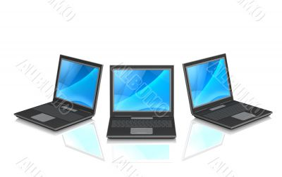 3d laptops, located by a semicircle
