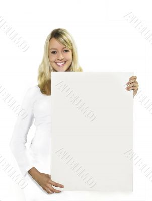 Woman with a white display