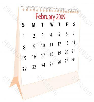 Calendar of a desktop 2009 for February