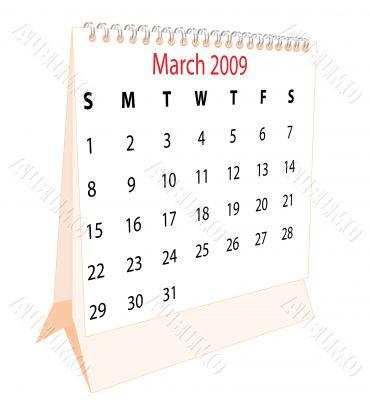 Calendar of a desktop 2009 for March