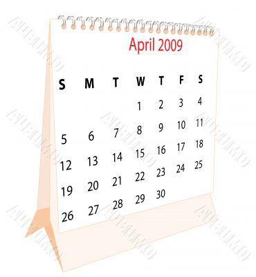 Calendar of a desktop 2009 for April
