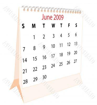 Calendar of a desktop 2009 for June