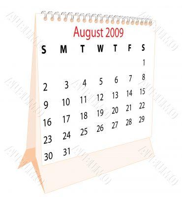Calendar of a desktop 2009 for August