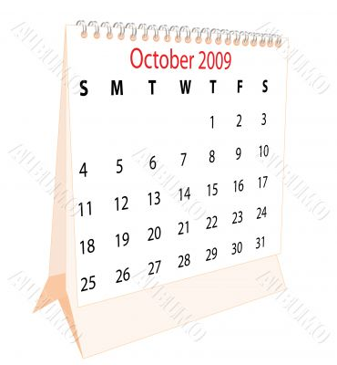 Calendar of a desktop 2009 for October