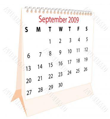 Calendar of a desktop 2009 for September