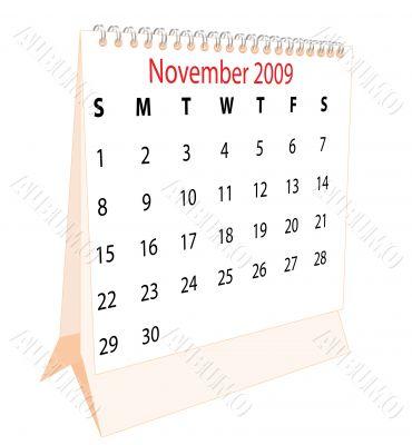 Calendar of a desktop 2009 for November