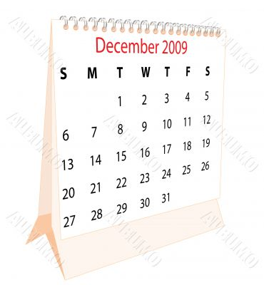 Calendar of a desktop 2009 for December