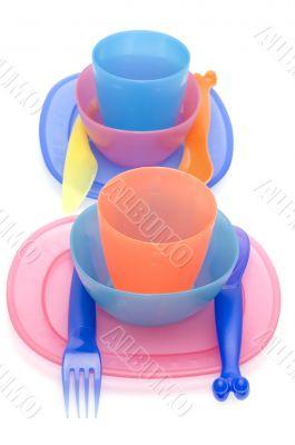 Set of Color plastic ware