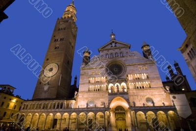 Cremona, the illuminated cathedral at night