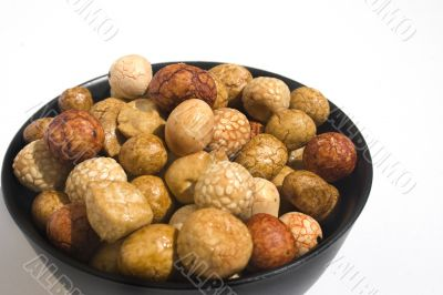 Bowl of Asian crackers
