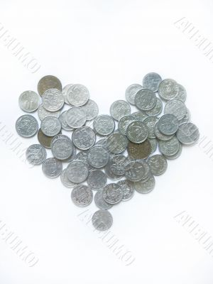 Heart made of some coins