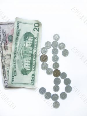 Dollar sign and banknotes