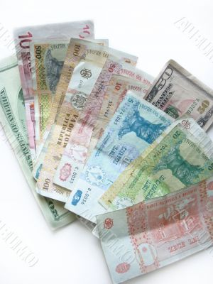 Dollars and moldavian banknotes