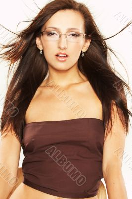 Long Haired Woman with Eyeglasses
