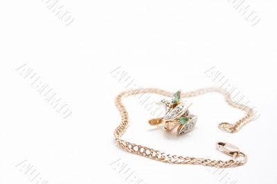 Golden Bracelet and Ear rings