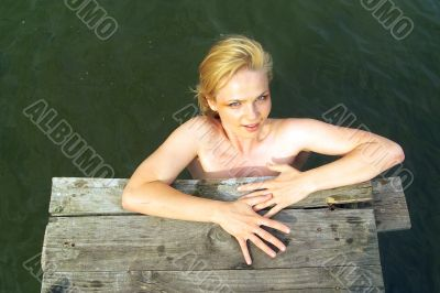 nice girl in country pond