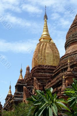 Brick pagoda with golden spire