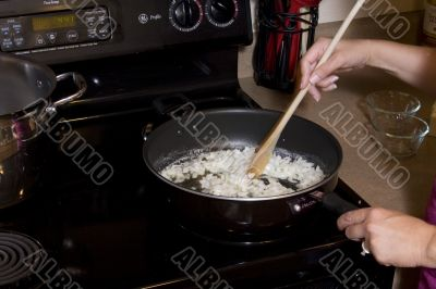 Food being cooked in pan