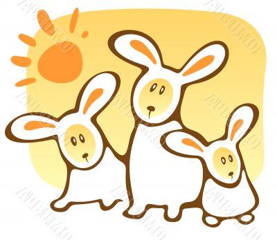 three rabbits and sun