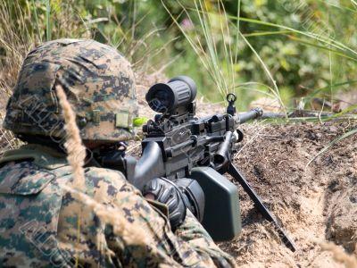 Soldier shooting his machine gun