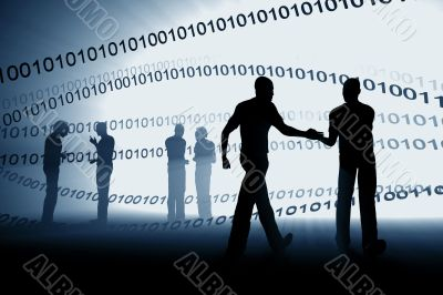 cyberspace hand shake